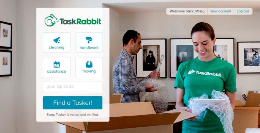 Task Rabiit ที่สามารถให้ใครก็ได้เข้ามารับจ้างจิปาถะตั้งแต่งานง่ายๆ เช่น ส่งของระหว่างทางตามบ้าน  ไปเสิร์ฟอาหารเป็นช่วงเวลาที่เราว่าง หรืองานแรงงาน